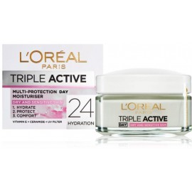 Loreal Triple Active dienas sejas krēms jutīgai / sausai ādai 50 ml.