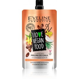 Eveline I Love Vegan Vanilla Latte Sugar Body Scrub ķermeņa skrubis