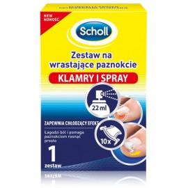 Scholl Ingrown Toenail Treatment Kit įaugusių nagų gydymo rinkinys (purškiklis 22 ml. + spaustukas 10 vnt.)