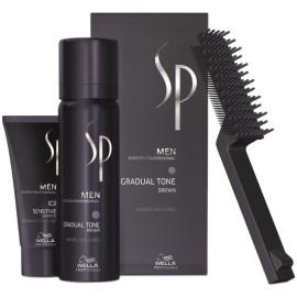 Wella Professional SP Men Gradual Tone matu krāsošanas komplekts vīriešiem Brūna krāsa (60 ml. krāsojošas putas + 30 ml. šampūns + ķemme + cimdi)