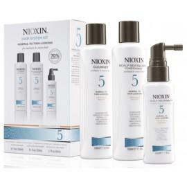 Nioxin System 5 komplekts pret matu izkrišanu plāniem un normāliem matiem (šampūns + kondicionieris + spec. līdzeklis) 350 ml.
