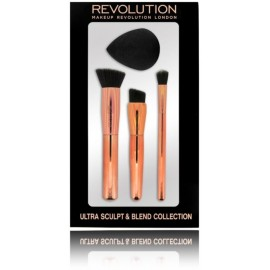 Makeup Revolution Ultra Sculpt & Blend Collection šepetėlių rinkinys + makiažo kempinėlė