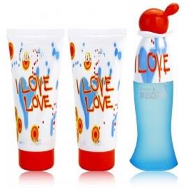 Moschino I Love Love komplekts sievietēm (50 ml. EDT + 100 ml. ķermeņa losjons + 100 ml. dušas želeja)
