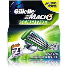 Gillette Mach3 Sensitive skuvekļa galviņas 4 gab.