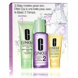 Clinique Travel 3 Step Skin Care System komplekts sejas kopšanai (sejas ziepes + tīrīšanas losjons + mitrinošs losjons)
