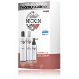 Nioxin System 3 komplekts plāniem krāsotiem matiem (150 ml. šampūns + 150 ml. kondicionieris + 50 ml. spec. līdzeklis)